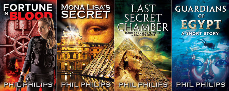 Four book covers by Phil Philips