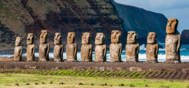 Easter Island Moai Heads face inland by Phil-Philips